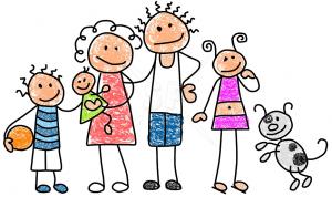 crayones dibujo familia feliz